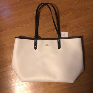 NWL White Coach Leather Tote Bag